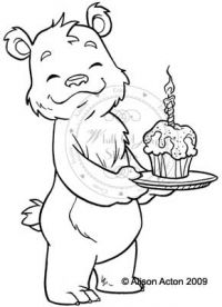 Bruno bear with cupcakte
